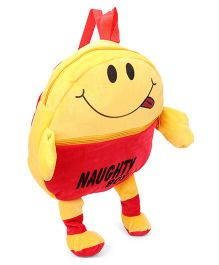 Funzoo Soft Toy Bag Smiley Print Red Yellow - Height 13 Inches