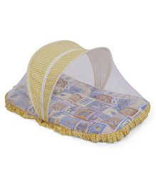 Mee Mee Mattress With Pillow And Mosquito Net Animal Print - Yellow Blue
