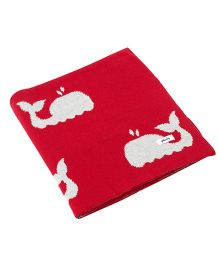 Pluchi Baby Whale Cotton Blanket - Red