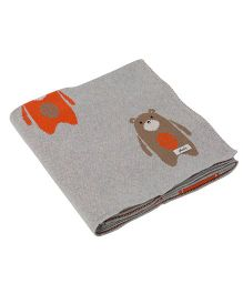 Pluchi Bears Printed Cotton Blanket - Grey