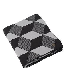 Pluchi Geometric Design Cotton Blanket - Black & Light Grey