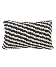 Pluchi  Knitted Horizontal Stripe Cushion - Black & White