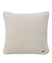 Pluchi  Knitted Solid Square Cushion - Stone & Silver