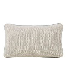 Pluchi  Knitted Solid Cushion - Stone & Silver