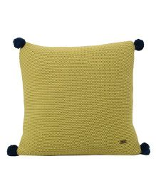 Pluchi  Textured Knitted Sqaure Pom Pom Cushion - Green