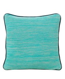 Pluchi  Textured Knitted Sqaure Cushion - Sea Green
