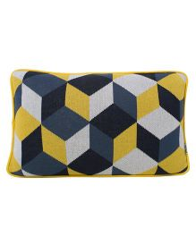 Pluchi  Digital Block Design Cushion - Lemon Yellow & Tea Grey &