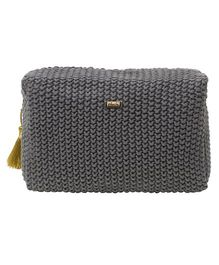 Pluchi  Knitted Square Pouch - Dark Grey