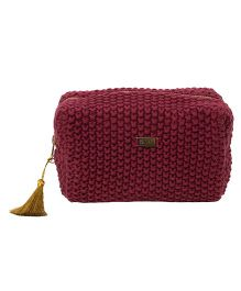 Pluchi  Knitted Small Square Pouch - Dark Red