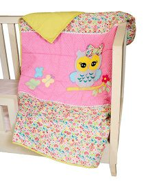 The Button Tree Baby Owl Design Cotton Quilt - Pink And Sky Blue