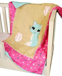 The Button Tree Cute Kitten Design Cotton Quilt - Brown & Pink