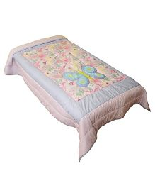 The Button Tree Miss Butterfly Design Cotton Quilt - Multicolor