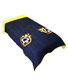 The Button Tree Soccer On Fire Design Cotton Quilt - Navy