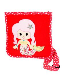The Button Tree Mermaid Design Sling Bag - Red