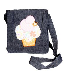 The Button Tree Miss Cup Cake Design Sling Bag - Grey