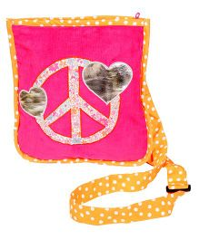 The Button Tree Peace Love Design Sling Bag - Pink