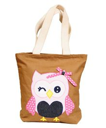 The Button Tree Owl Design Tote Bag - Brown