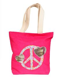 The Button Tree Peace Love Design Tote Bag - Pink