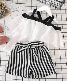 Aakriti Creations Off Shoulder Top With Striped Shorts - Black & White