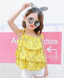 Aakriti Creations Tier Spagetti Top With Shorts - Yellow