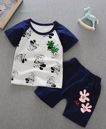 Aakriti Creations Mouse Print Tee With Shorts - Navy