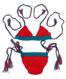 Mayra Knits Cute Laces Swimming Set Photography Prop - Red & Blue