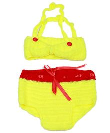 Mayra Knits Bow Style Swimming Set Photography Prop - Yellow & Red