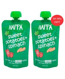Happa Organic Spinach Sweet Potato Puree Pack Of 2 - 220 gm