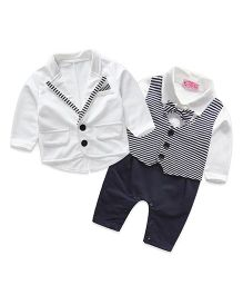 Pre Order - Superfie Coat With Romper Partywear Set - Black & White