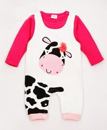 Pre Order - Superfie Cow Print Romper With Tee - White