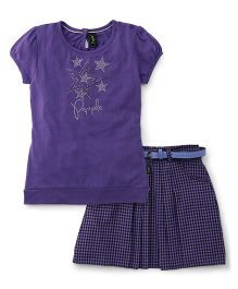 Papple Star Print Shorts Sleeves Top And Skirt - Purple