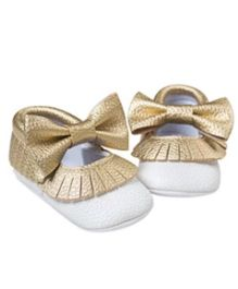 Princess Cart Bowknot Moccasin Booties - Golden & White