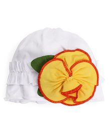 Princess Cart Flower Spring Cap - White & Yellow