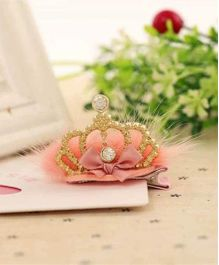 Princess Cart Mini Tiara Hair Clip - Peach