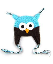 Princess Cart Owl Cap With Ear Flap - Blue & Brown