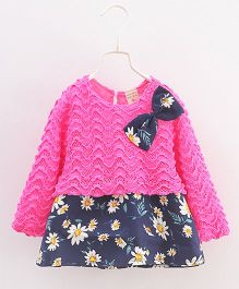 Urb-N-Angels Full Sleeves Dress Bow Applique - Pink & Blue