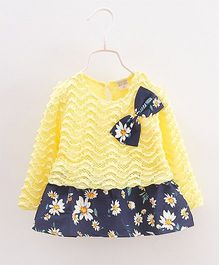Urb-N-Angels Full Sleeves Dress Bow Applique - Yellow & Blue