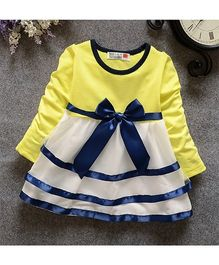 Urb-N-Angels Full Sleeves Dress Bow Applique - Yellow