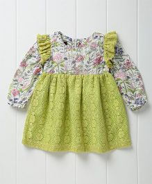 Pspeaches Pretty Printed Full Sleeves Dress With Lace - Green