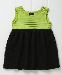 Pspeaches Striped & Lace Dress - Green & Black