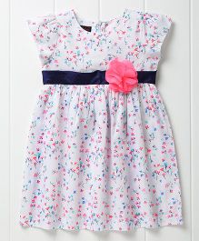 Pspeaches Pretty Flower Dress With Belt - White