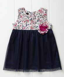 Pspeaches Pretty Sleeveless Dress With Flower Applique - Navy Blue