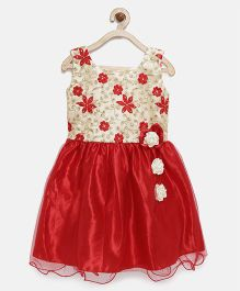 Winakki Kids Embroidered Dress With Rose Applique - Red