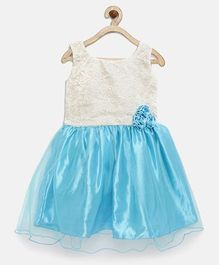 Winakki Kids Bow Applique Dress With Thread Work - Blue