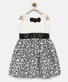 Winakki Kids Leaf Print Dress With Flower Applique - Black