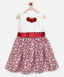 Winakki Kids Leaf Print Dress With Flower Applique - Red