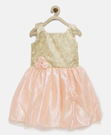 Winakki Kids Sequined Dress With Flower Applique - Peach