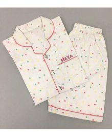 Little West Street Polka Dot Printed Short Set - White & Multicolour