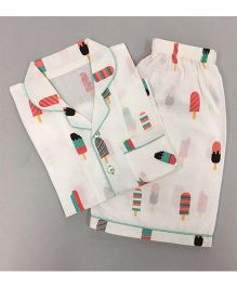 Little West Street Popsicle Printed Short Set - White & Multicolour