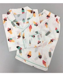 Little West Street Icecream Printed Short Set - White & Multicolour